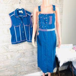 VTG Koret Denim Overalls Dress & Vest With Flag